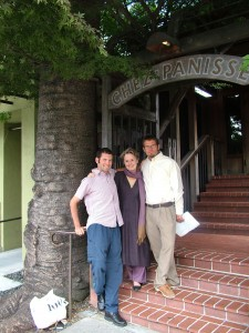 Daniel, Alice, and Casey outside Chez Panisse